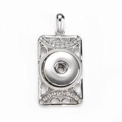 Charm Alloy White Rhinestone Charm Pendant Rectangle Fit Snap Buttons for DIY Jewelry