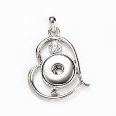 Alloy with Rhinestone Heart Shape Snap Button Base Pendant for Interchangeable Jewelry Necklace