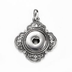 Alloy Square Snap Base Pendants Antique Silver Tone Rhinestone for Snap Charms Necklace Making