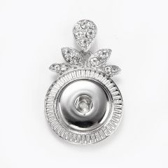 Charm Unique Alloy Snap Button Pendant with Rhinestone for DIY Jewelry Accessories