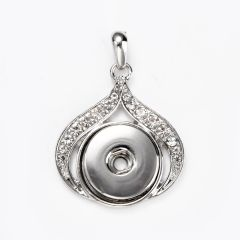 Alloy Snap Button Heart Oval Charm Pendant with Rhinestone for DIY Jewelry Supplies