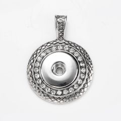 Alloy Snap Button Pendants Round Antique Silver Clear Rhinestone Fits 18mm/20mm Snap Buttons