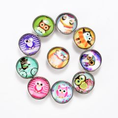 Chunk Snap Buttons Round Cute Owls Pattern Glass Interchangeable Snap Button Jewelry