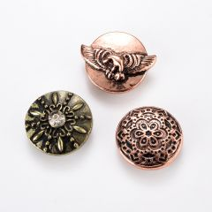 18mm Snap Buttons Round Antique Bronze Mixed Carved Rhinestone Fit Snap Button Bracelets