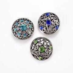 Alloy Rhinestone Hollow Flower Snap Button Jewelry Accessory for Women DIY Bracelet Ring