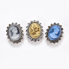 Elegant Lady Cameo Interchangeable Snap Button Chunk Charms for Snap Jewelry Making