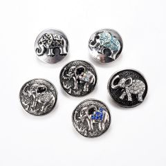 19mm Alloy Snap Buttons Round Silver Tone Elephant Pattern At Random Fit Snap Jewelry Bracelets Rings