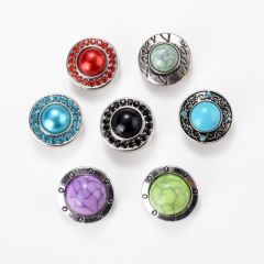 Alloy Imitation Pearl Snap Buttons Charms Fits Ginger Snap & Noosa Snap Jewelry 18mm Dia. Mixed Color