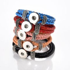 """Multi colors PU Leather Bracelets Fit for Snap Button Charms 8-8.5"""""""