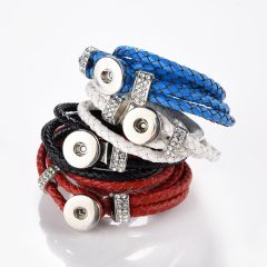 """Multi Strand PU Leather Braided Bracelet Fit 18mm Snap Buttons for DIY Snap Jewelry 16"""""""
