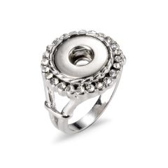 Alloy Rhinestone Snap Button Ring Jewelry US Size 8 Fit for Gingersnaps Buttons