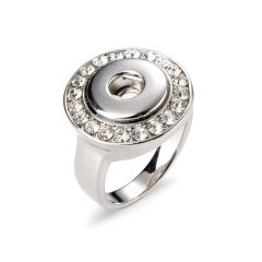 Alloy Snap Button Rings Fit Snap Buttons Round Silver Tone Clear Rhinestone