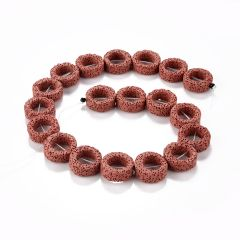 "22*8mm Volcanic Lava Stone Beads Rim Halo Circle Gemstone Loose Beads Strand 16"""