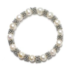 8-9mm Potato White Freshwater Pearl Stretch Bracelet Antique