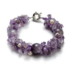 16mm Round Amethyst with Chips Freshwater Pearl Bracelet