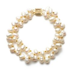 6-7mm White Pearls with Golden Alloy Beads Bracelet