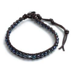 Single Wrap Bracelet 4-5 mm Potato Black Freshwater Pearls on Brown Leather