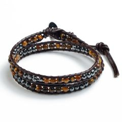 Tiger Eye Beads Mix Faceted Hematite Beads Leather 2 Wrap Bracelet for Women Collection