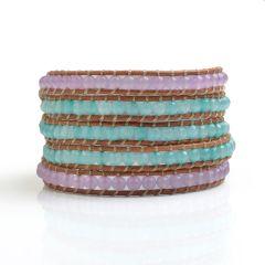 Handmade Popular Light Blue and Purple Malaysia Jade Leather 5 Wrap Bracelet