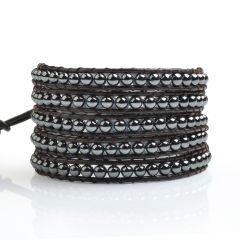 Fashionable 4mm Smooth Round Hematite Beads on Cowhide Leather 5 Wrap Bracelet