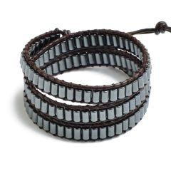 Column Black Hematite Stone 3 Wrap Bracelet Leather Beaded Cuff Bangle