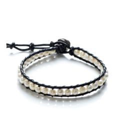 4-5mm Potato White Freshwater Pearls Single Wrap Bracelet on Leather
