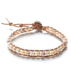 Handmade 5-6mm Potato Mixed Color Freshwater Pearls Weave Leather Single Wrap Bracelet