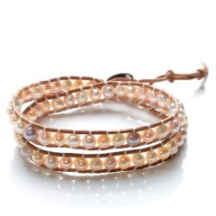 2 Strand Wrap Bracelet 5-6mm Potato Multi color Freshwater Pearls Beaded on Leather