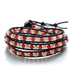 4-5mm Freshwater White Pearls and Coral Beads Leather Charming 3 Wrap Bracelet Adjustable