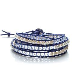 Potato 4-5mm White Pearls Crystal Mixed Beads 3 Layers Wrap Bracelet Handmade Jewelry