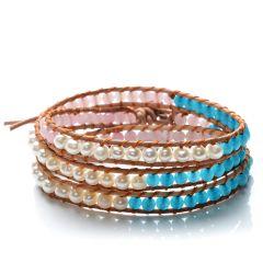 White Potato Pearls and Malaysia Jade on Leather Handmade 3 Wrap Bracelet
