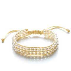 Elegant Potato Freshwater Cultured White Pearls Two Row Wrap Bracelet