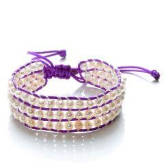 Handmade Cord Weaving Potato 4-5mm Freshwater White Pearls 3 Row Wrap Bracelet