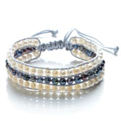 Handmade Women 3 Row Wrap Bracelet Potato Freshwater White and Black Pearls Cord Weaving