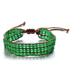 Round 4-5mm Smooth Round Green Malaysia Jade Beaded 3 Row Wrap Bracelet Adjustable