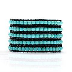 Fashion Handmade Beaded 4-5mm Blue Turquoise 5 Wrap Bracelet on Black Leather