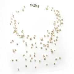Freshwater White Pearls Illusion Floating Necklace