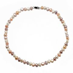 6-7mm, 7-8mm Nugget Freshwater Cultured Pearls Necklace 925 Silver Clasp for Women