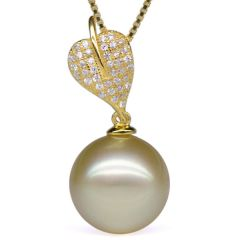 13-14mm A+ Round Golden South Sea Pearl Pendant with 925 Sterling Silver Necklace Chain EP7032