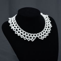 Elegant Bridal White Faux Pearl Beaded Bib Necklace 17""