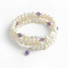 6-7mm White Freshwater Cultured Pearls Bangle Bracelet with Amethyst Beads