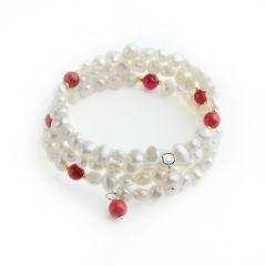 Elegant 6-7mm White Freshwater Cultured Pearls Bangle Bracelet with Red Coral
