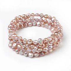 6-7mm Nugget Light Purple Freshwater Cultured Pearls Bangle Bracelet