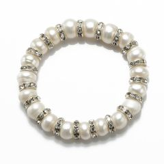 9-10mm White Freshwater Button Pearls Bracelet FBR160