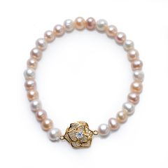 Gold Plated 925 Silver Beautiful Flower Charm 6-7mm Potato Multi-color Pearl Stretch Bracelet