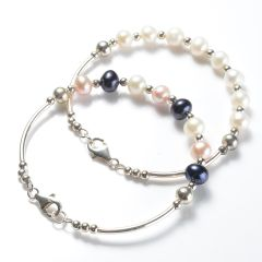 Simple Fashion 925 Silver Tube and Clasp 7-8mm Potato Pearl Bangle Bracelet with Copper Spacer Beads