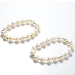 Simple Style 8-9mm Potato Freshwater Cultured White Pearls Stretch Bracelet with copper spacer beads