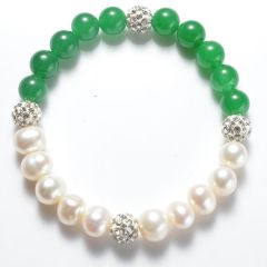 Potato White Pearls and Green Malaysia Jade Stretch Bracelet with Shiny Rhinestone Spacer Beads