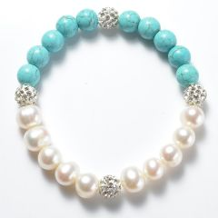 Charm White Freshwater Pearls and Blue Turquoise Stretch Bracelets for Women with Rhinestone Ball Beads