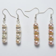Pearl Long Drop Dangle Earrings For Woman Copper Hook Earrings Fashion Wedding Jewelry